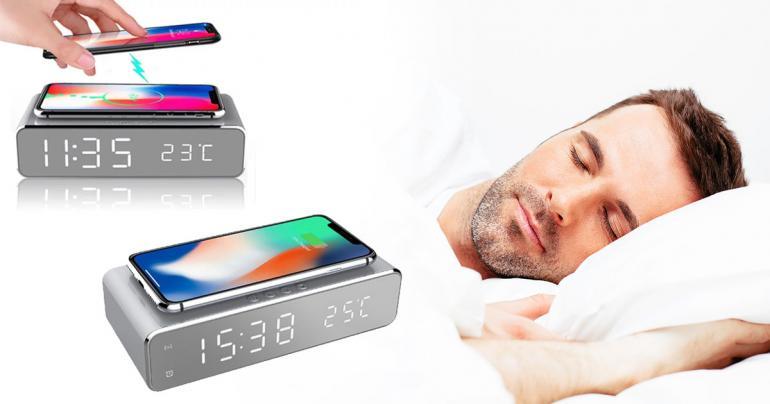 Kombinerad trådlös QI-laddare & LED väckarklocka