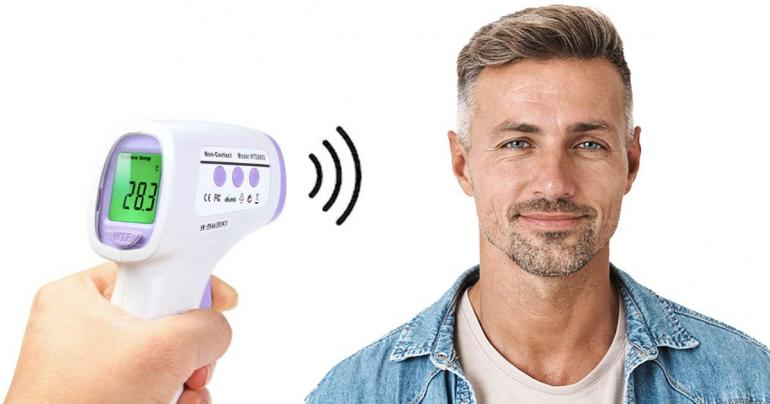 """""""No touch""""-termometer med snabb och exakt mätning på 0,5 sekunder på Digdeal.se"""