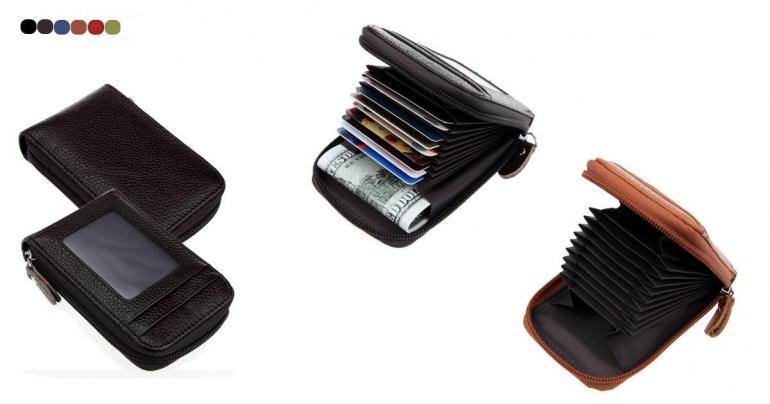 Plånbok i 100% läder med RFID-skydd mot skimning på Digdeal.se